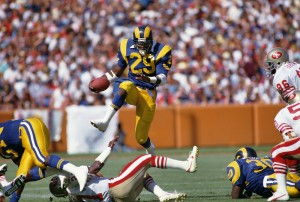 Sep 14, 1986; Anaheim, CA, USA; FILE PHOTO; Los Angeles Rams running back Eric Dickerson (29) carries the ball against the San Francisco 49ers at Anaheim Stadium. Mandatory Credit: Peter Brouillet-USA TODAY Sports