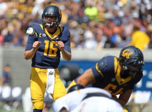 Sep 5, 2015; Berkeley, CA, USA; California Golden Bears quarterback Jared Goff (16) calls out a play against the Grambling State Tigers during the first quarter at Memorial Stadium. Mandatory Credit: Kelley L Cox-USA TODAY Sports