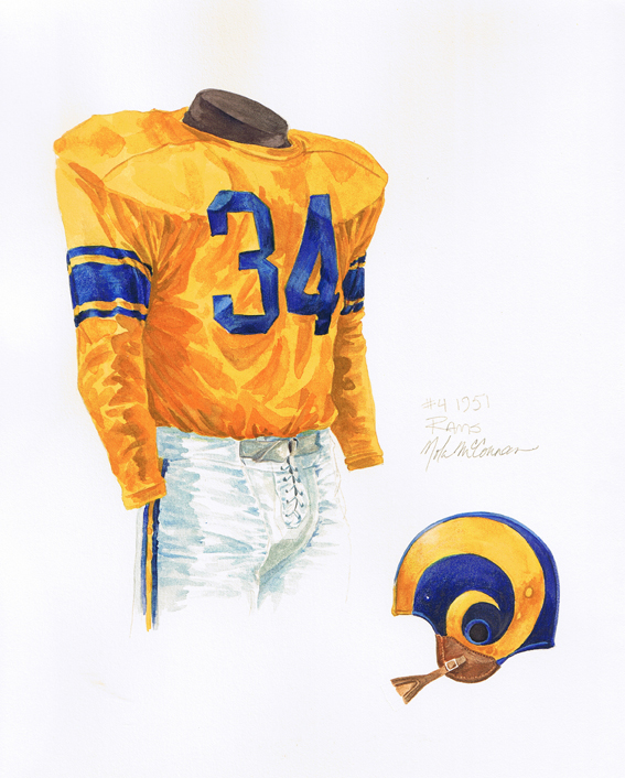 The Rams also added a plastic helmet, instead of leather, for the 1951 season.