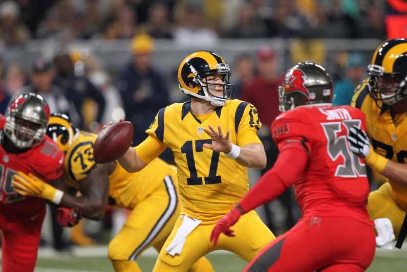 St. Louis Rams quarterback Case Keenum sets up to pass the football in the second quarter against Tampa Bay Buccaneers at the Edward Jones Dome in St. Louis on December 17, 2015. Photo by Bill Greenblatt/UPI