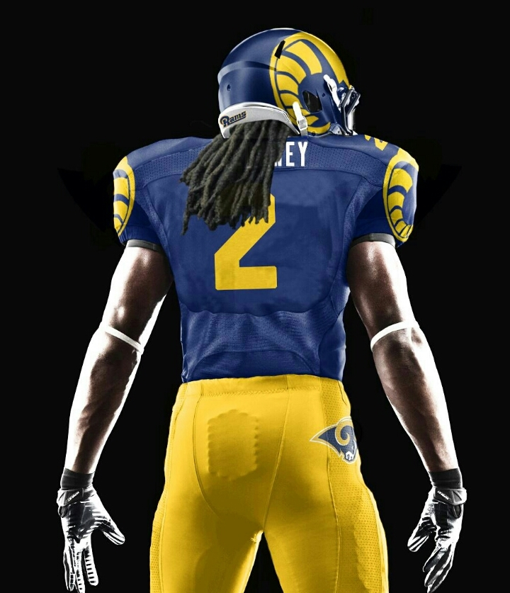 The detailed ram graphic on the helmet is reminiscent of an earlier 1940's design actually used by the team.