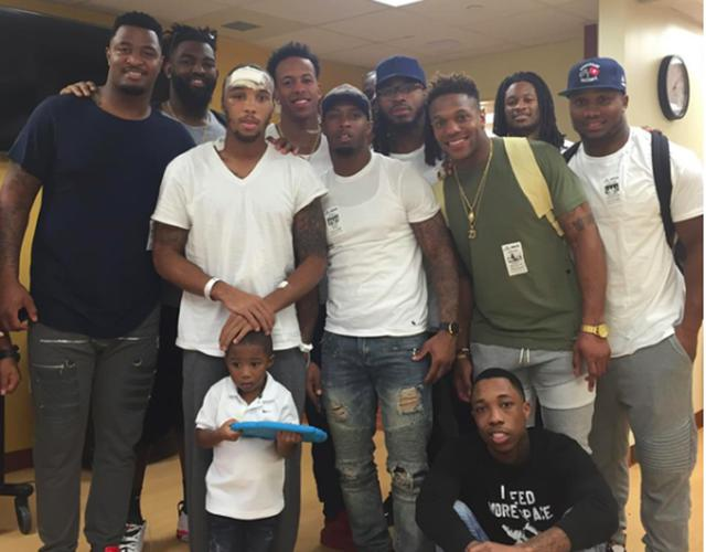 Stedman Bailey getting a visit from teammates while in hospital.