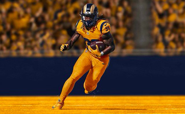 This is an intimidating look for the Rams. It probably should be the team's regular gameday uni.