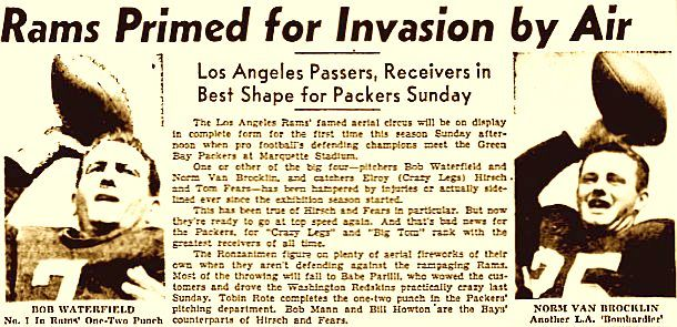 "Headlines from a later 1952 newspaper story featuring the Los Angles Rams ""tandem QB"""